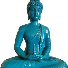 Sitting Buddha Blue Statue (12″)