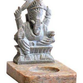 Ganesha Soapstone Incense Holder (4.25″)