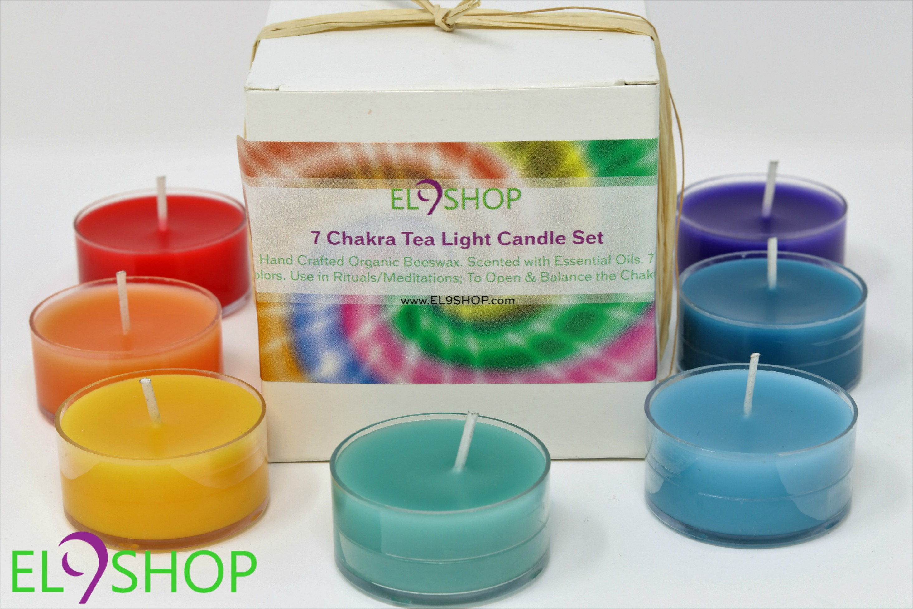 561a92682f 7 Chakra Tea Light Candle Set – El 9 Shop